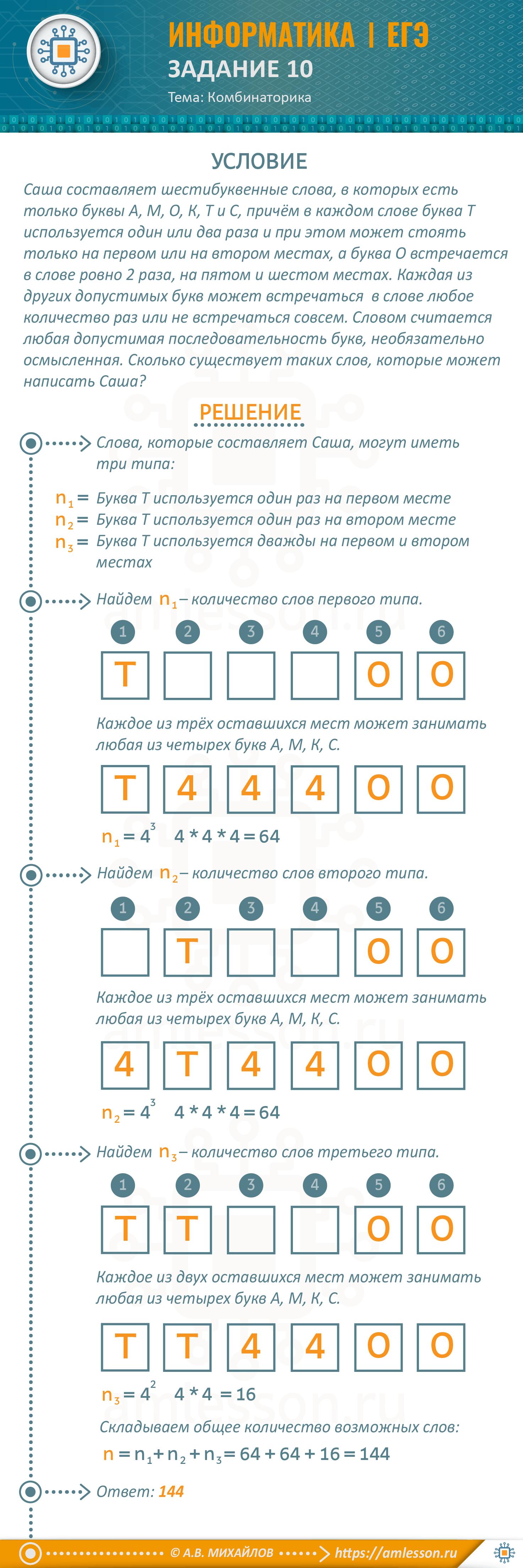 ЕГЭ по информатике задание 10. Тема: комбинаторика