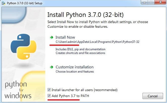 установка python_3.7